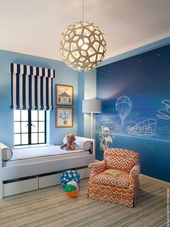 Contemporary Kids Bedroom with Standard height, David trubridge coral 600 pendant lamp, Striped carpet, Crown molding, Carpet