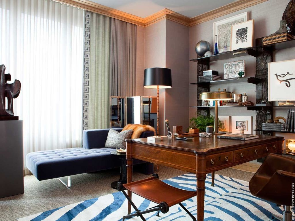 Contemporary Home Office with Carpet, Nuloom - zebra animal print black/ ivory rug, Crown molding, Standard height, Paint