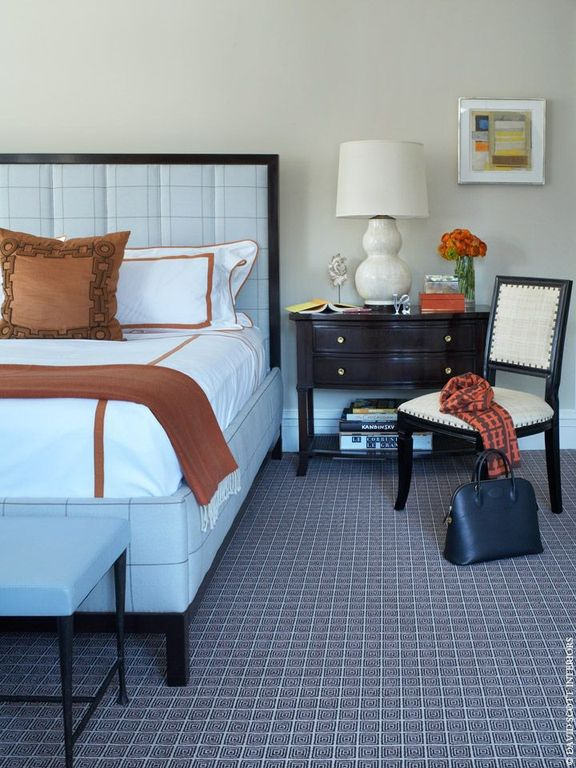 Contemporary Master Bedroom with High ceiling, Carpet, Color Plus West Highland Double Gourd Table Lamp
