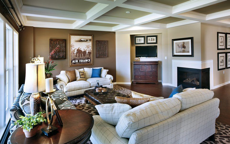 Traditional Living Room with Standard height, Fireplace, Hardwood floors, Box ceiling, double-hung window, insert fireplace