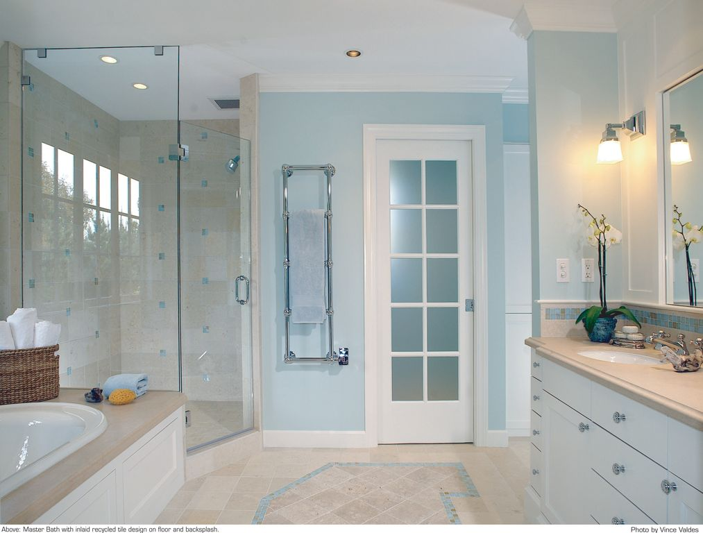 Traditional Master Bathroom with Flush, Wall sconce, French doors, Shower, Custom Frameless Shower, Undermount sink, Paint