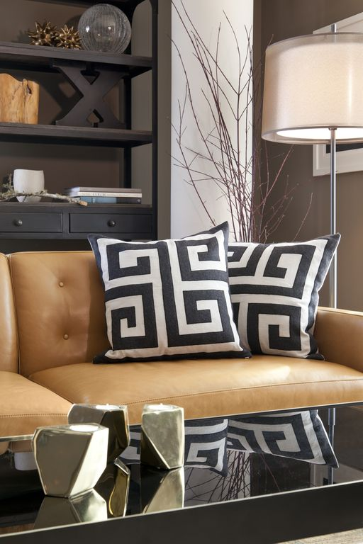 Contemporary Living Room with Paint, Paint 2, Warder greek key pillow black creme, Engage tan leather sofa