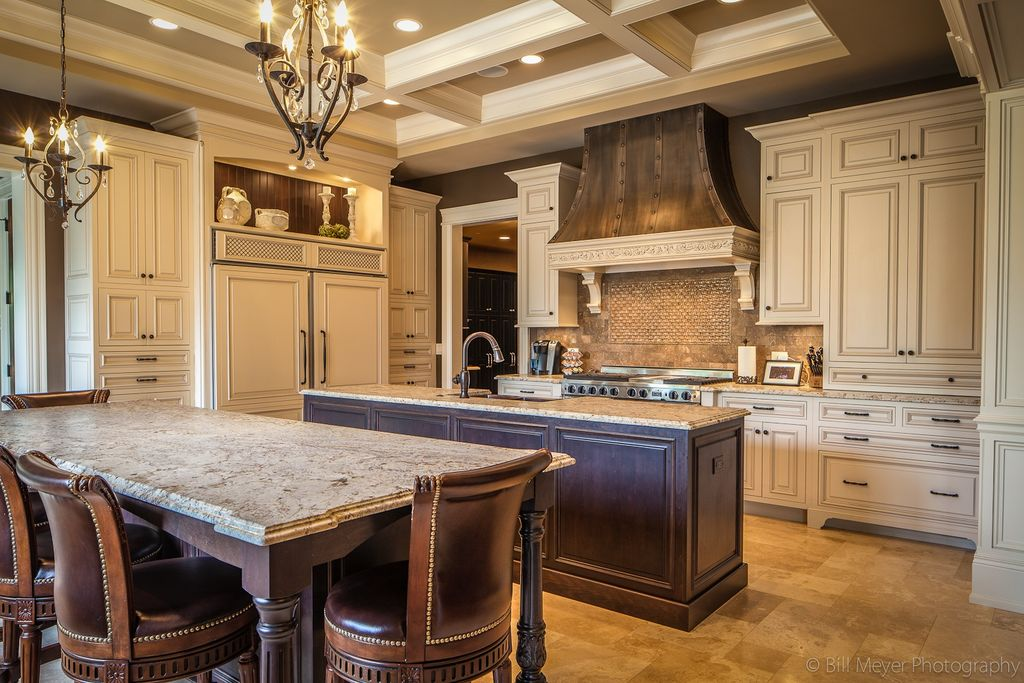 Traditional Kitchen with Simple granite counters, Ms international: tuscany classic tumbled travertine mosaic, Kitchen island