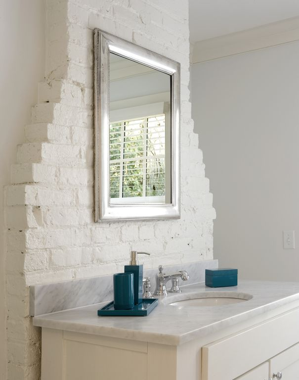 Eclectic Full Bathroom with Jonathan adler lacquer vanity accessories, Concert framed mirror with bevel