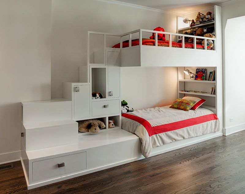Contemporary Kids Bedroom with Built-in bookshelf, Custom bunk bed with storage, bedroom reading light, Bunk beds