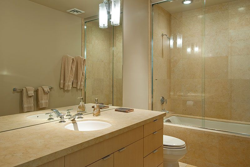 Modern Full Bathroom with Bathtub, drop in bathtub, European Cabinets, wall-mounted above mirror bathroom light, can lights