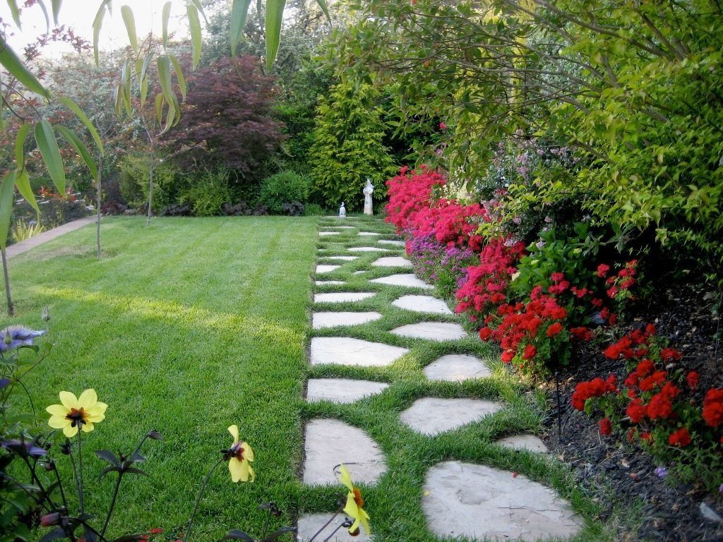 Traditional Landscape/Yard with Stone pavers
