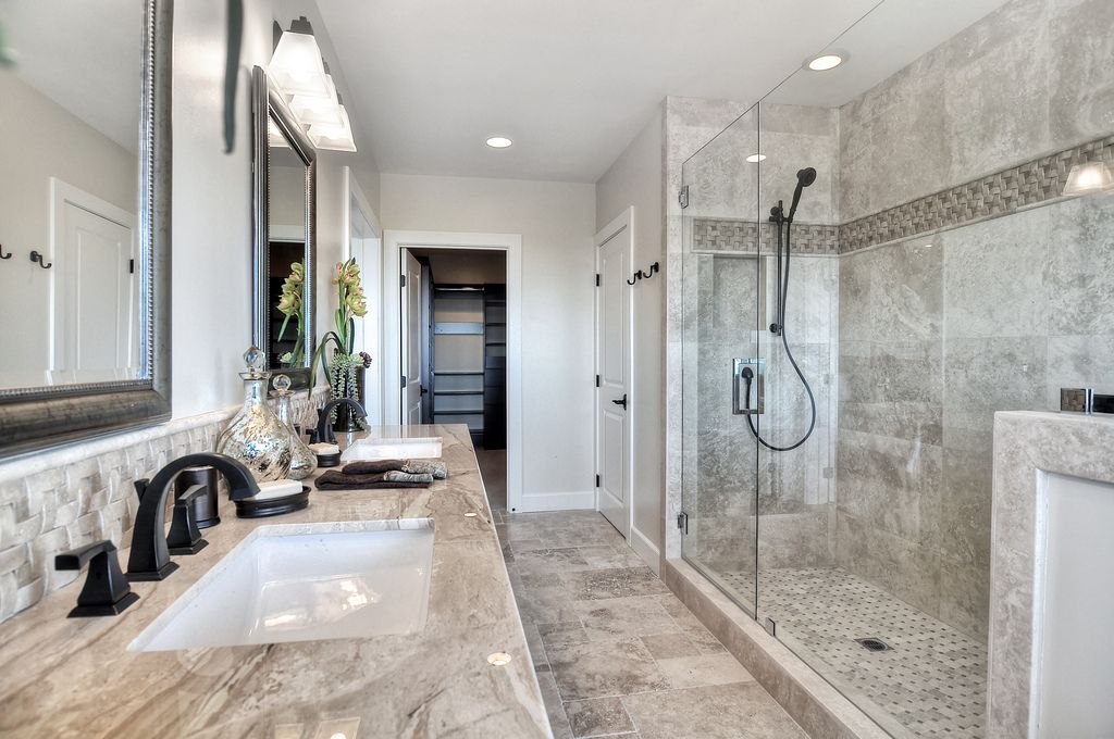 Traditional Master Bathroom with Undermount sink, Shower, Complex granite counters, Wall Tiles, can lights, Standard height