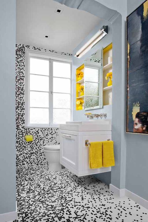 Contemporary Full Bathroom with Powder room, Inset cabinets, Custom Daltile Mosaic, Flat panel cabinets, ceramic tile floors