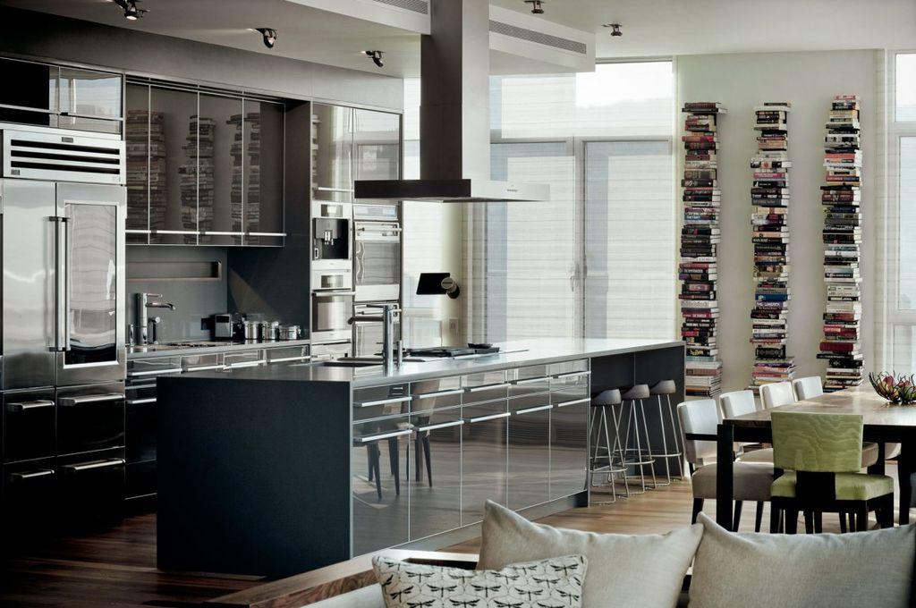 Modern Kitchen with flush light, Island Hood, Multiple Refrigerators, Cavaliere-euro 36-inch island-mount modern range hood