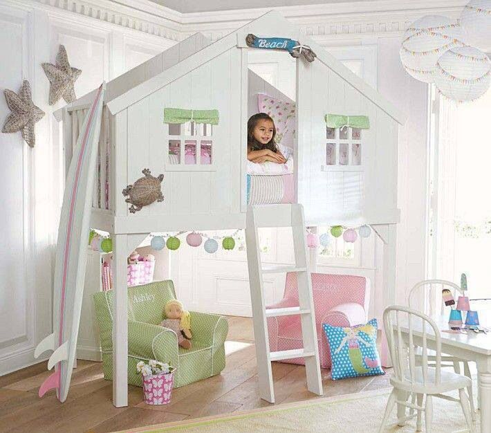 Cottage Playroom with Pottery barn kids - girls anywhere chair collection, Potterybarnkids.com - treehouse bunk, Chandelier