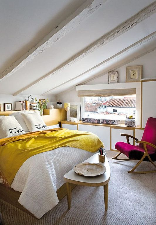 Eclectic Guest Bedroom with specialty window, Window seat, Exposed beam, Carpet, Standard height