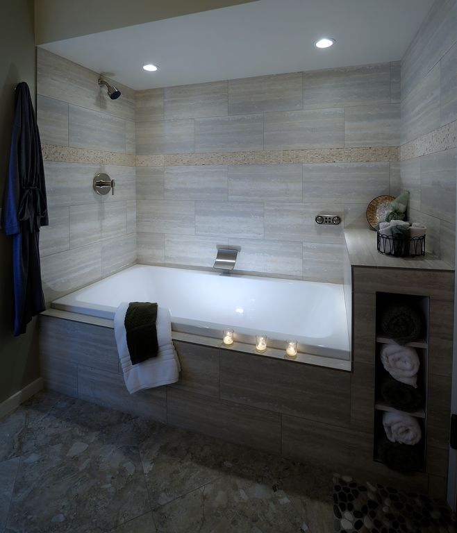 Contemporary Full Bathroom with Bathtub, specialty tile floors, drop in bathtub, can lights, Full Bath, Built-in tile shelf