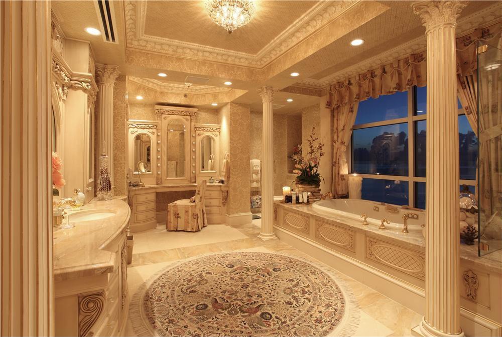 Traditional master bathroom with flush light limestone for Luxury master bathroom designs gallery