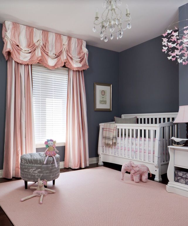 Traditional Kids Bedroom with Pottery barn kids pink paper butterfly mobile, Standard height, Hardwood floors, Paint