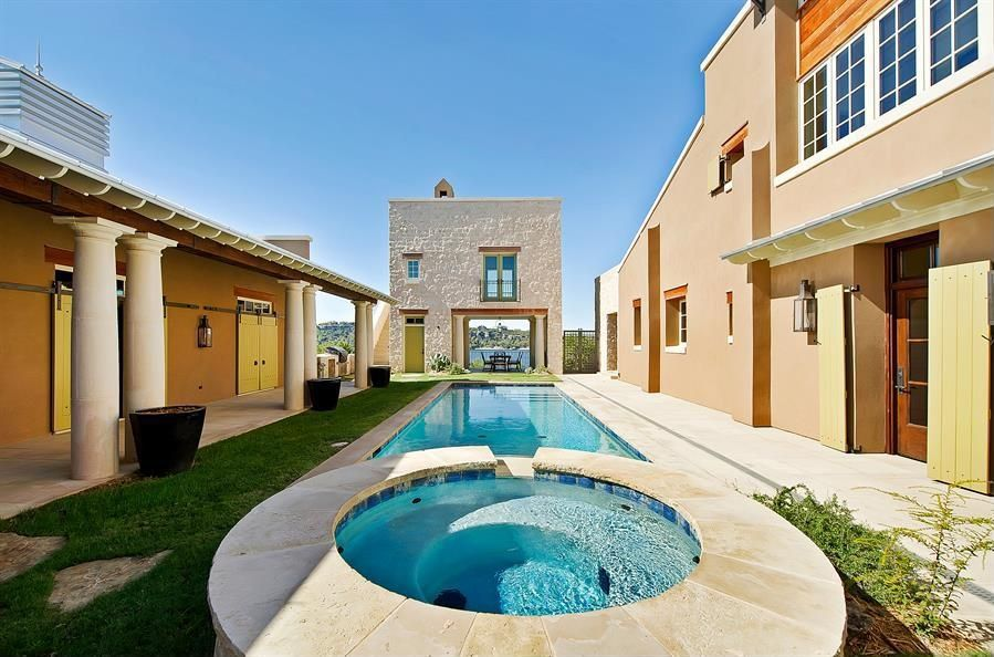 Mediterranean Swimming Pool with Casement, Pool with hot tub, Gate, Transom window, French doors, Deck Railing, Fence