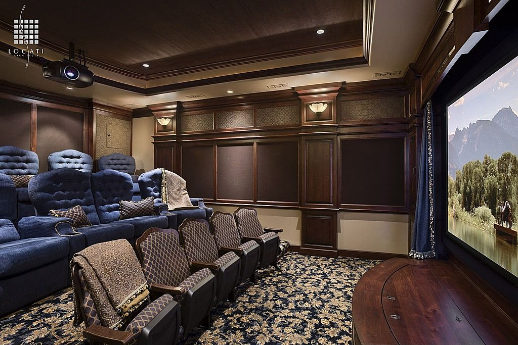 Traditional Home Theater with flush light, Mural, Carpet, Standard height, Crown molding, can lights