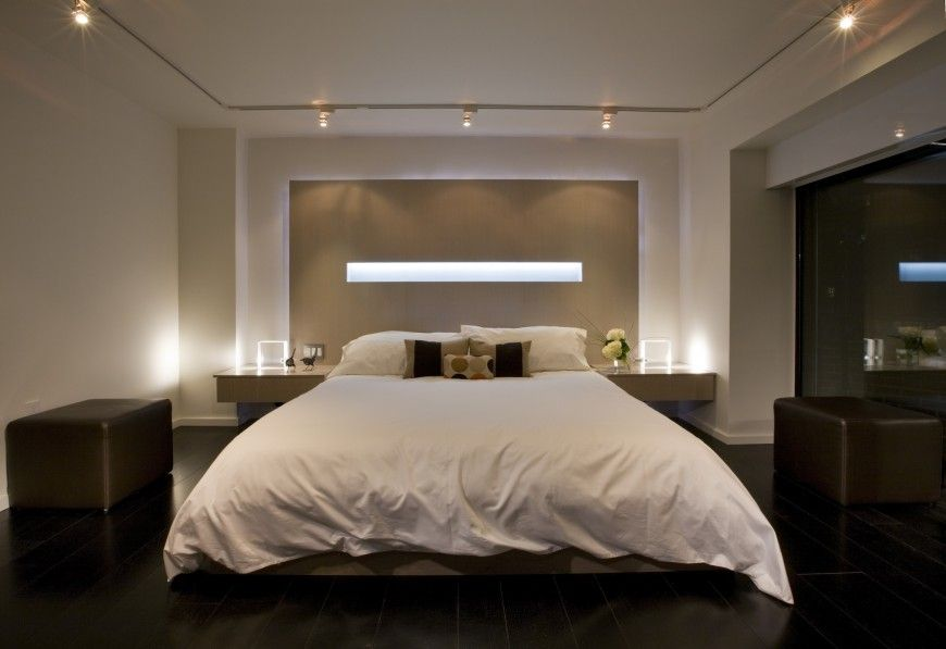 Contemporary Master Bedroom with flush light, Hardwood floors, Standard height