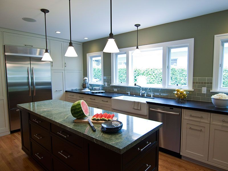 Traditional Kitchen with L-shaped, Pental costa esmeralda satin granite, Soapstone counters, Onyx counters, Pendant light