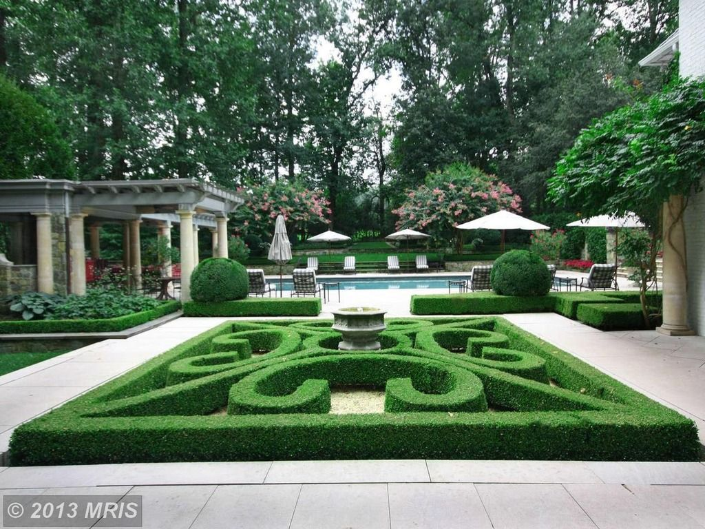Traditional Landscape/Yard with French formal garden, Topiary, Bird bath, Pathway, Raised beds, exterior tile floors, Trellis
