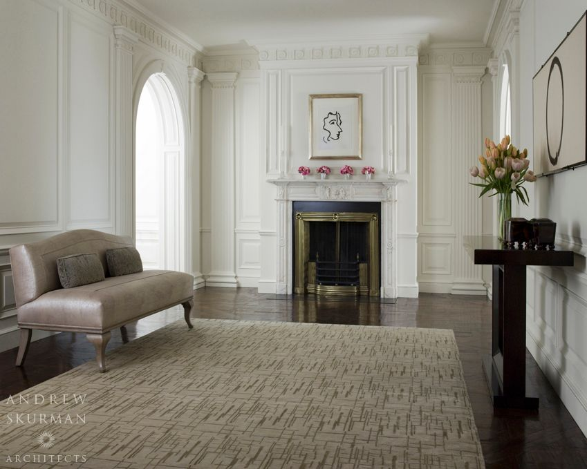 Traditional Living Room with Chair rail, Crown molding, insert fireplace, Fireplace, Hardwood floors, Standard height