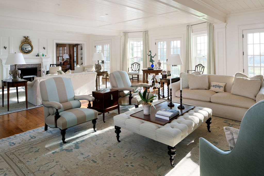 Traditional Living Room with Box ceiling, double-hung window, Lawrence Tufted Ottoman, Gray, Paint, Crown molding, can lights