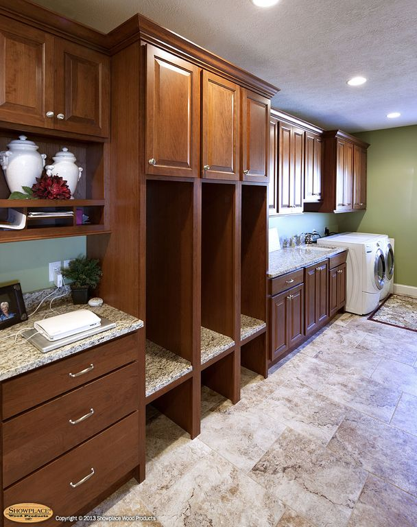 Traditional Mud Room with Stonemark granite 3 in. granite countertop sample in azul platino, Built-in bookshelf, can lights