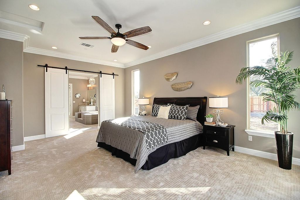 contemporary master bedroom with carpet crown molding in folsom ca