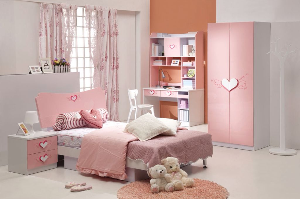 Contemporary Kids Bedroom with specialty window, Concrete floors, no bedroom feature, Built-in bookshelf, Standard height