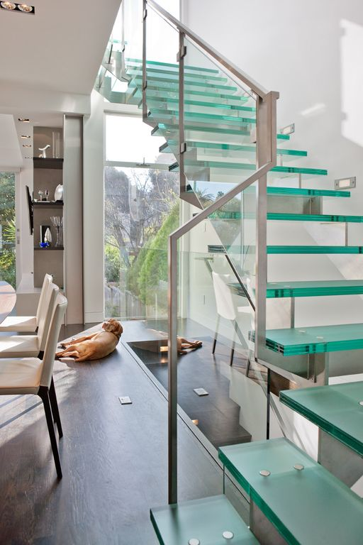 Contemporary Staircase with picture window, High ceiling, Glass staircase