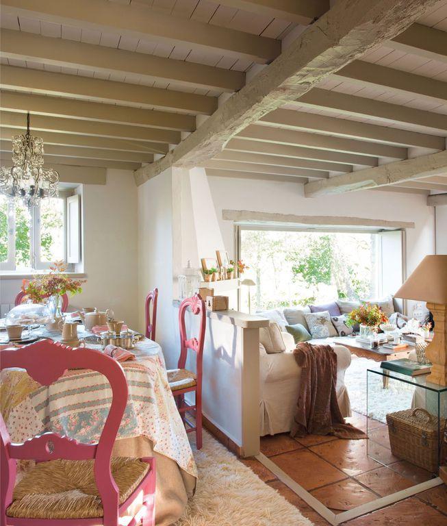 Rustic Great Room with Exposed beam, sandstone floors, Casement, Standard height, Chandelier