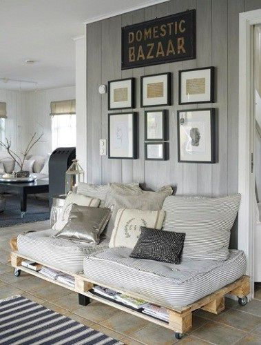Rustic Living Room with Diy pallet sofa, Concrete tile , Standard height, Paint