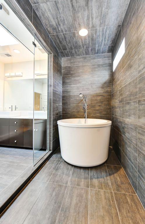 "Contemporary Master Bathroom with Paint 1, Paint 3, Paint 2, Salerno porcelain tile driftwood series manhattan 12""x24"""