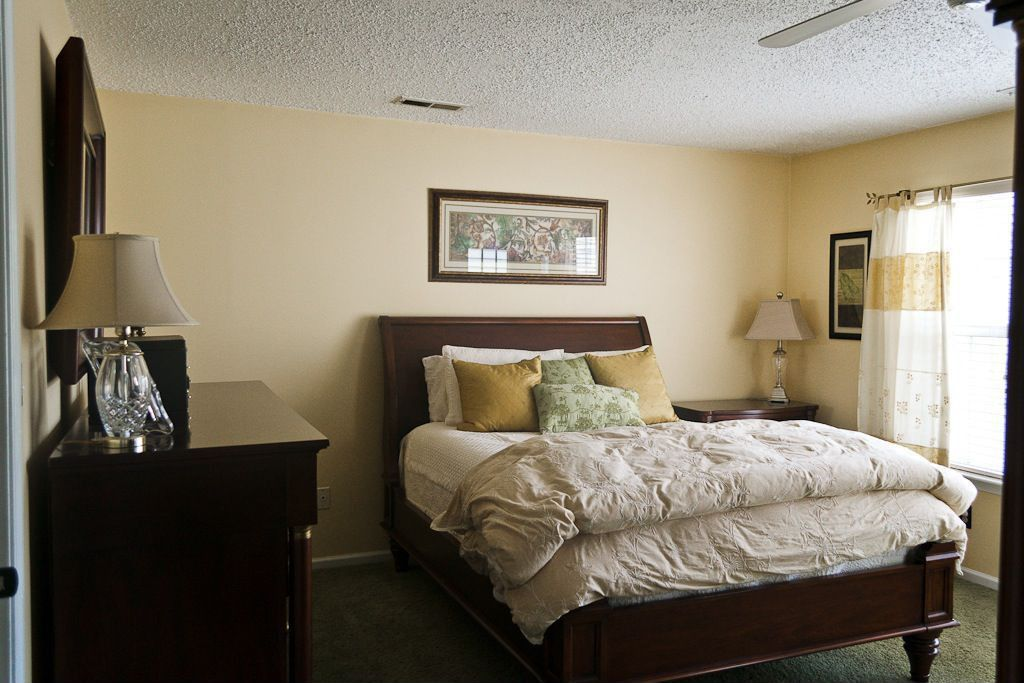Traditional Guest Bedroom with Carpet, Ceiling fan