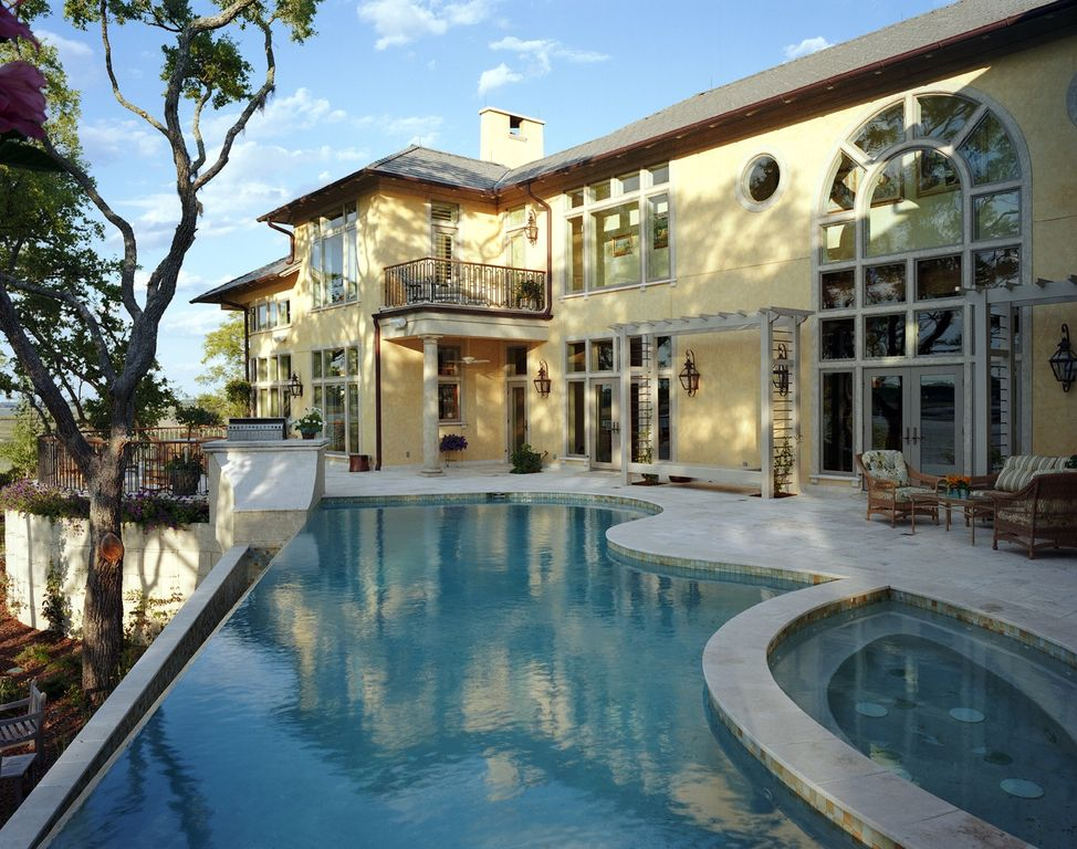 Modern Swimming Pool with Pathway, specialty window, exterior concrete tile floors, picture window, Pool with hot tub
