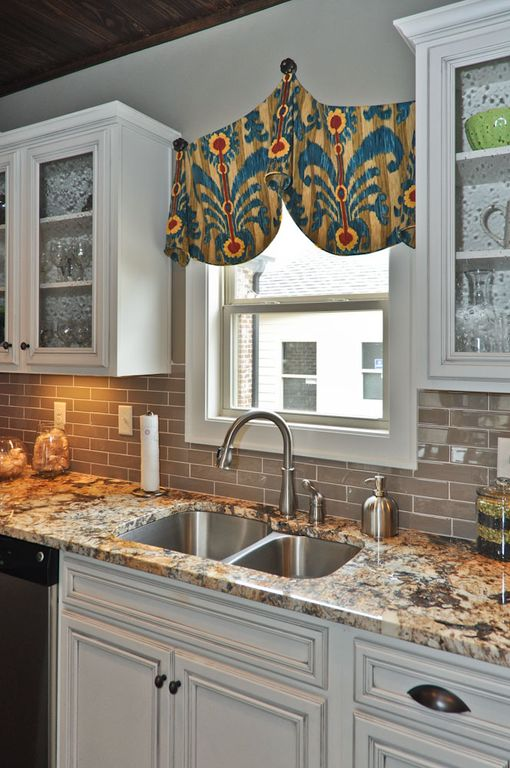Traditional Kitchen with Multiple Sinks, double-hung window, Subway Tile, Glass panel, One-wall, dishwasher, Standard height