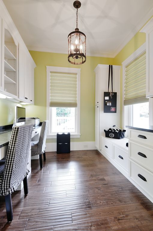 Country Home Office with Roman shades, Crown molding, Soapstone counters, Standard height, Pendant light, Laminate floors
