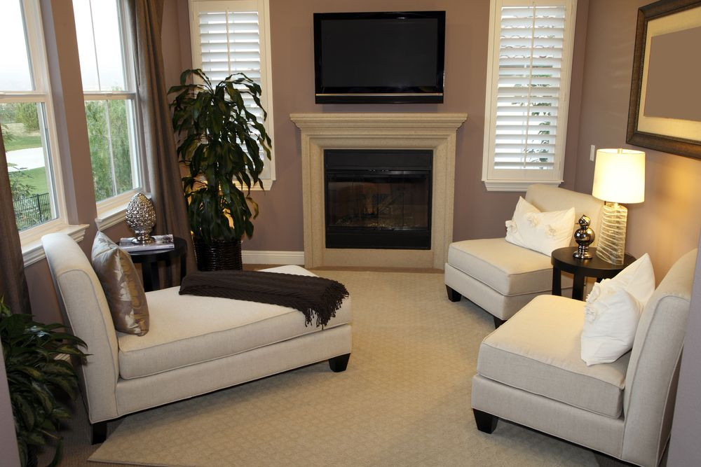 Traditional Living Room with double-hung window, Standard height, metal fireplace, Carpet, Fireplace