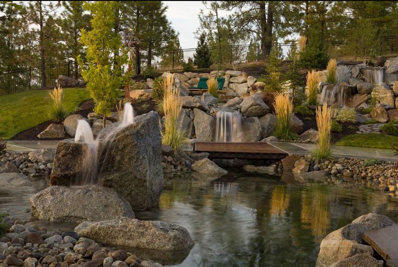 rustic landscape yard with build a backyard waterfall and stream