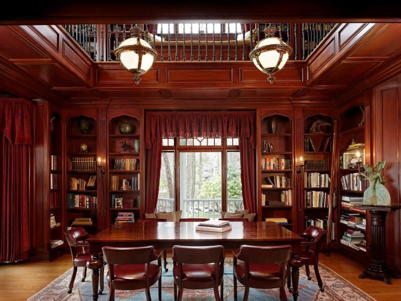 Traditional Home Office with High ceiling, Crown molding, Pendant light, Casement, Loft, Hardwood floors, Built-in bookshelf