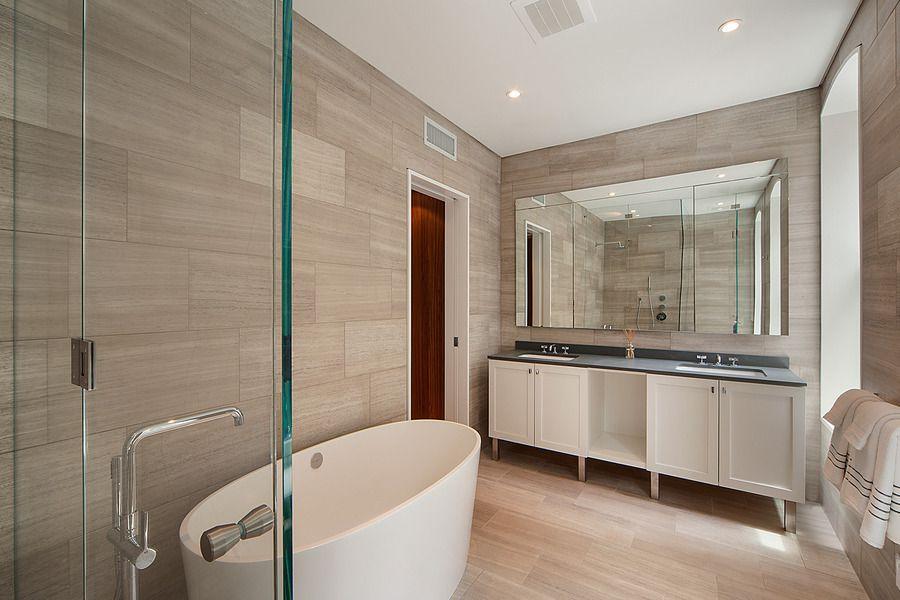 Contemporary Master Bathroom With Frameless Showerdoor Arizona Tile