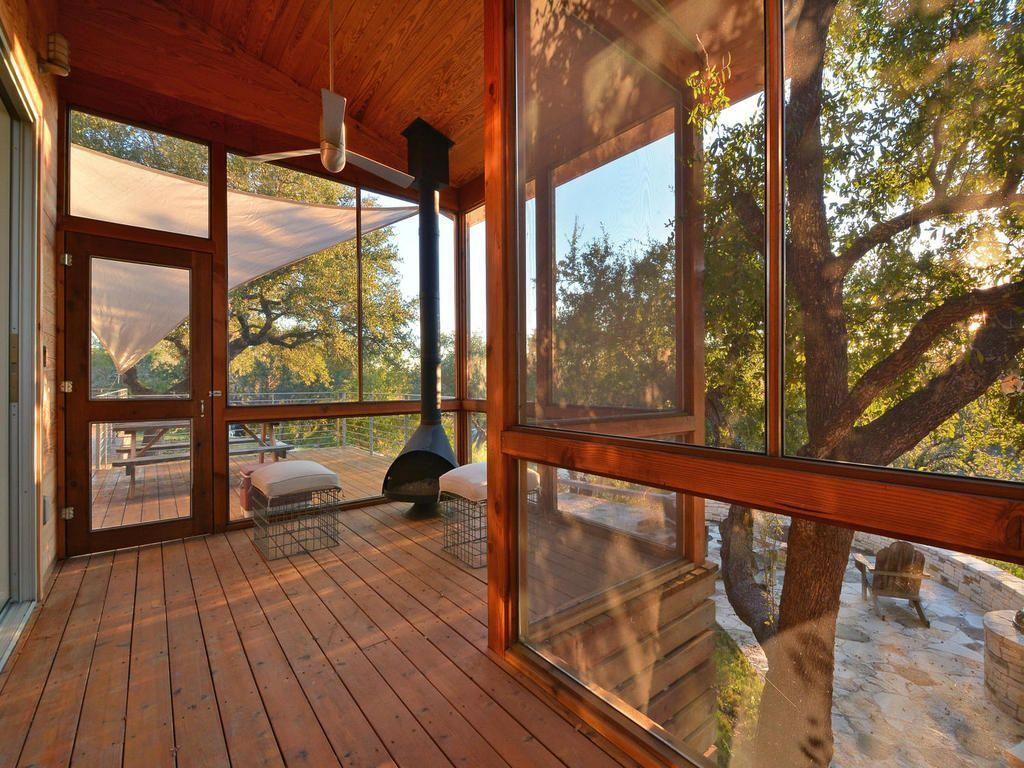 Contemporary Porch with French doors, Deck Railing, picture window, Screened porch, Transom window