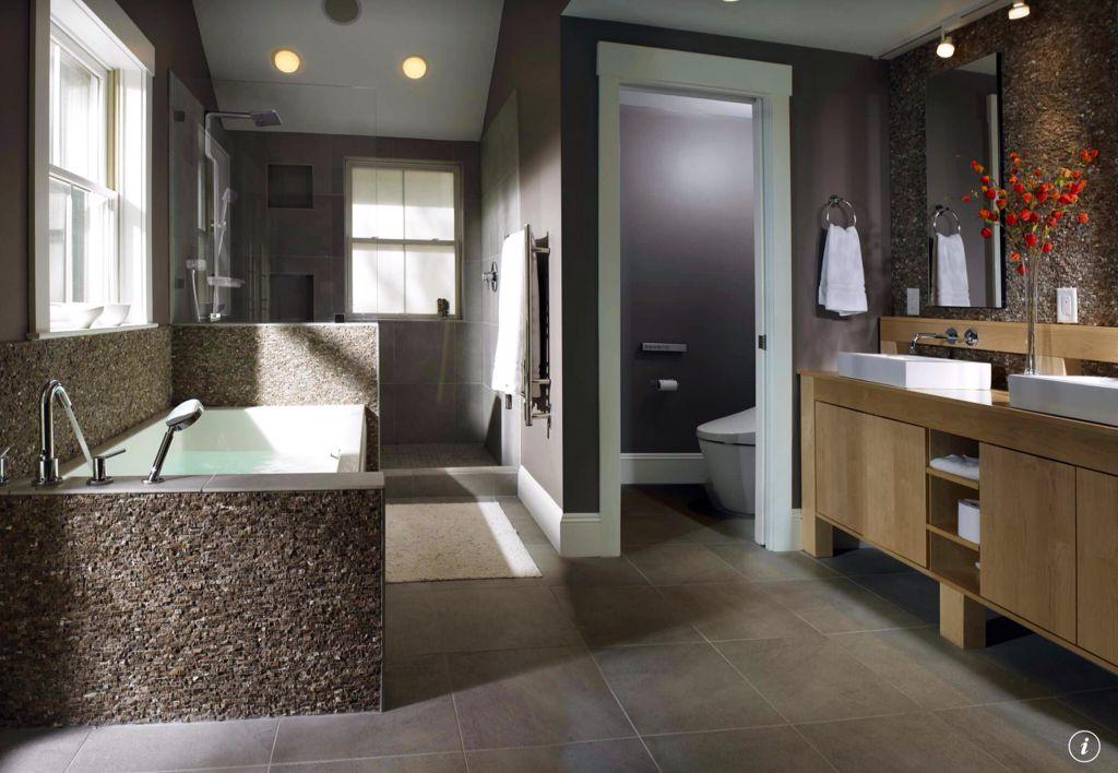 Contemporary Master Bathroom with Handheld showerhead, Purist wading pool above counter bathroom sink, flush light, Bathtub