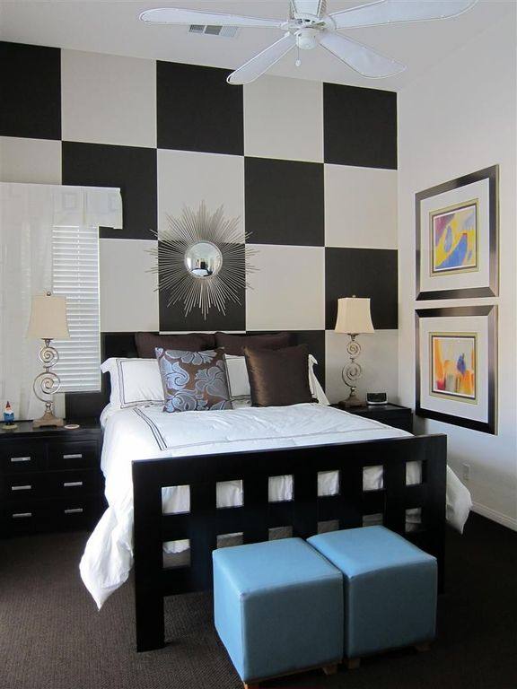Contemporary Master Bedroom with Ceiling fan & High