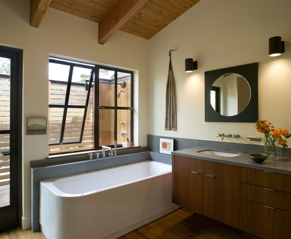 Contemporary Master Bathroom with Flush, Undermount sink, Wall sconce, High ceiling, no showerdoor, Casement, Wall Tiles