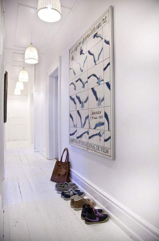 Eclectic Hallway with Standard height, Hardwood floors, Pendant light, Box ceiling, six panel door