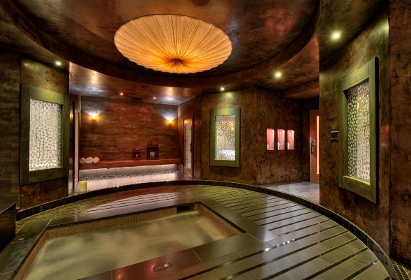 Contemporary Hot Tub with French doors, exterior concrete tile floors, exterior tile floors, Stained glass window