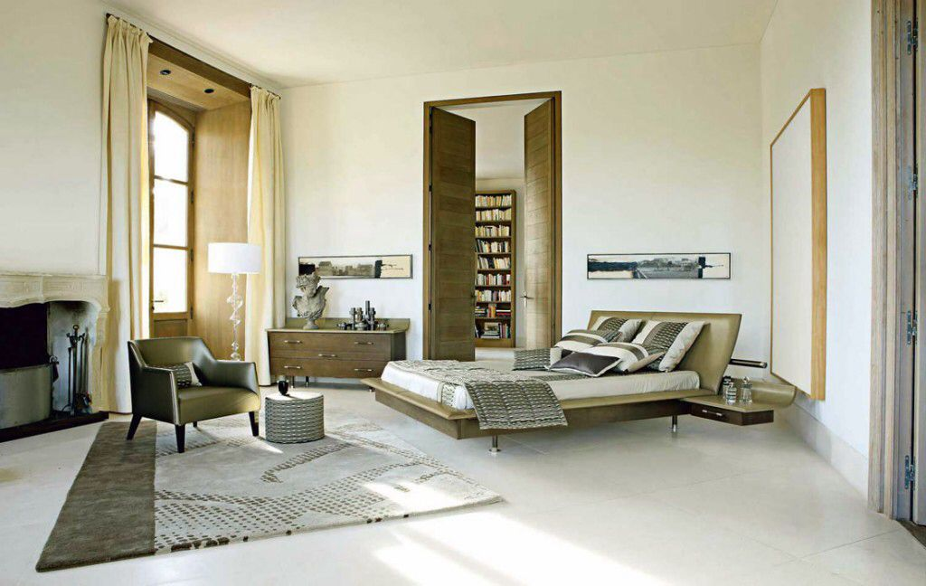 Contemporary Master Bedroom with terracotta tile floors, Casement, Arched window, specialty door, can lights, Standard height
