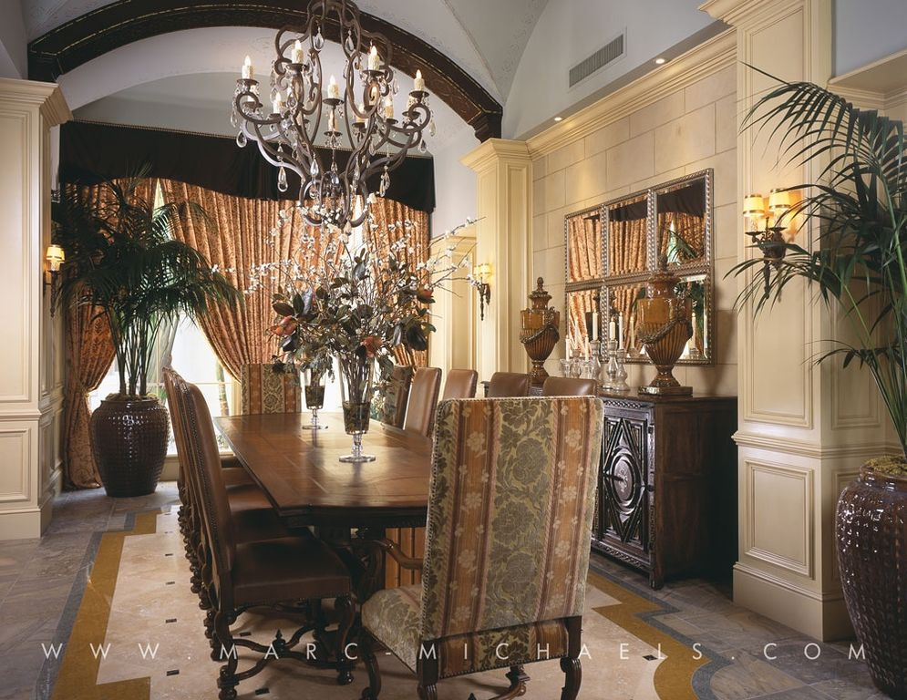 Mediterranean Dining Room with Fieldale Lodge Glenwood Buffet, Exposed beam, High ceiling, Wainscotting, Chair rail