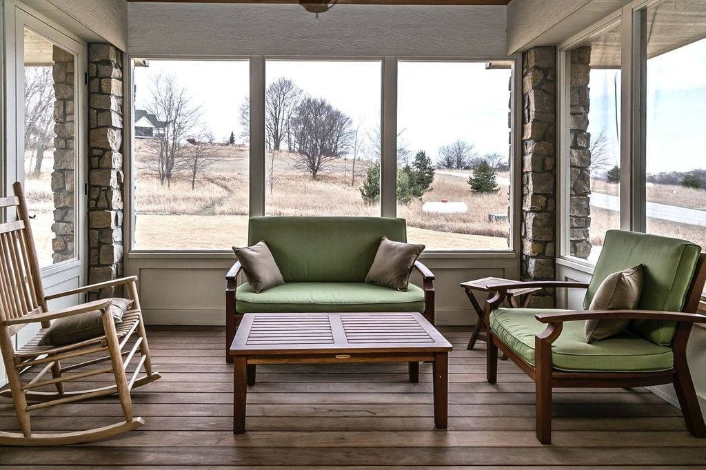 Traditional Porch with Screened porch, picture window, Pathway, Glass panel door